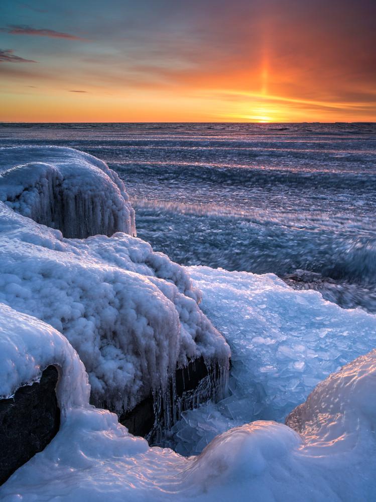 Winter sunrise along Lake Superior