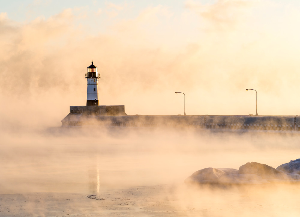 Winter Canal Park Sunrise Duluth