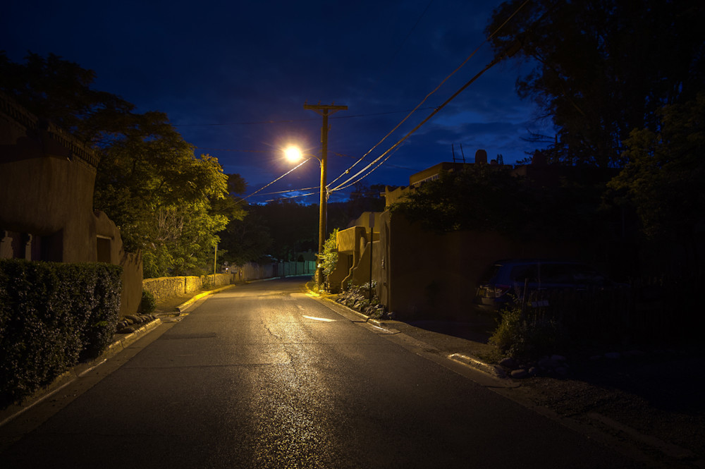 Photography, Santa Fe, nocturne, Canyon Road, Southwest, New Mexico