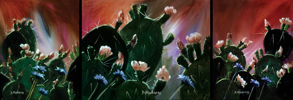 Prickly Pear Triptych | Southwest Art Gallery Tucson