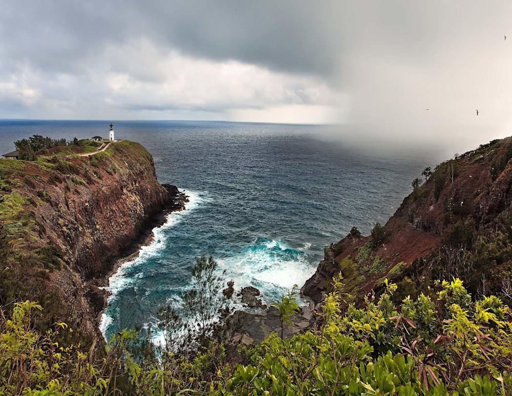 Storm approaches Kilauea Lighthouse and Wildlife Refuge | Kauai Fine Art Photography, Hawaii