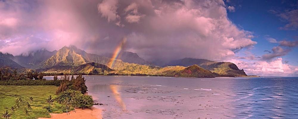 Rainbow and sunrise at Hanalei Bay | Kauai Fine Art Photography, Hawaii