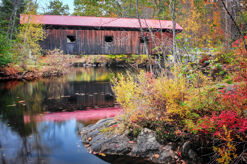 Nature inspired creative landscape prints/New Hampshire's Warner Covered bridge by Tom Schoeller