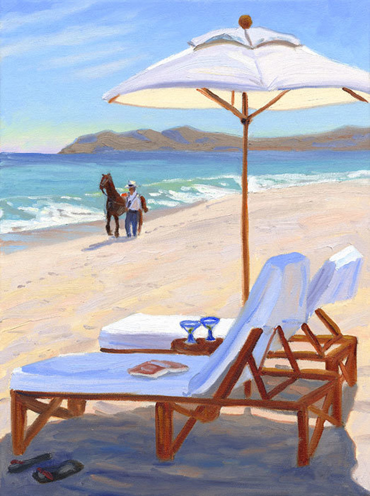 Parasol and Chairs on Beach