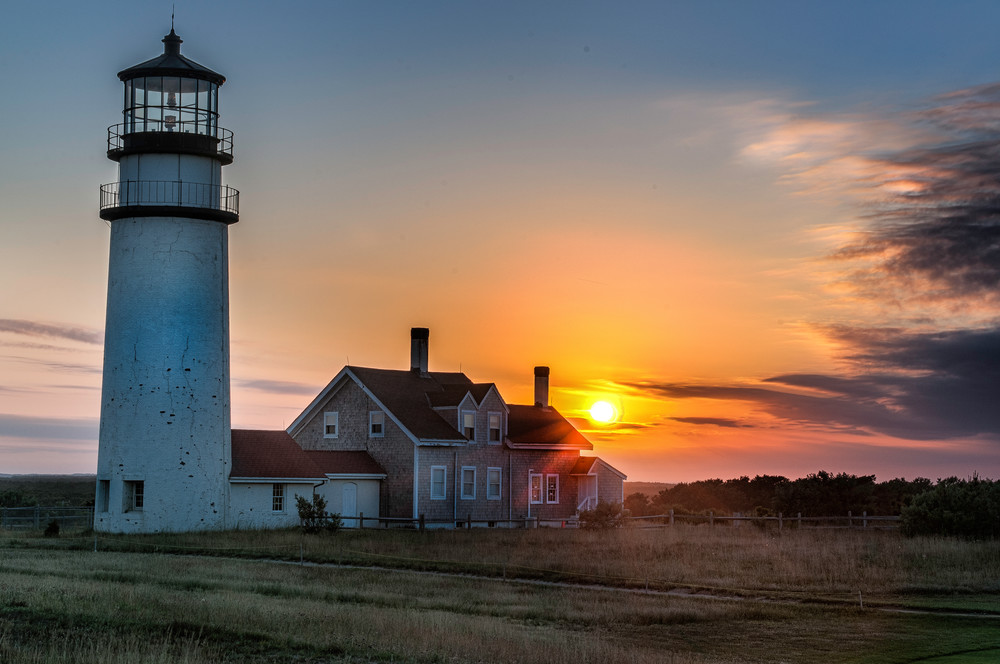 New England Lighthouse photography prints/Cape Cod Light at Sunset Truro Massachusetts by artist Tom Schoeller
