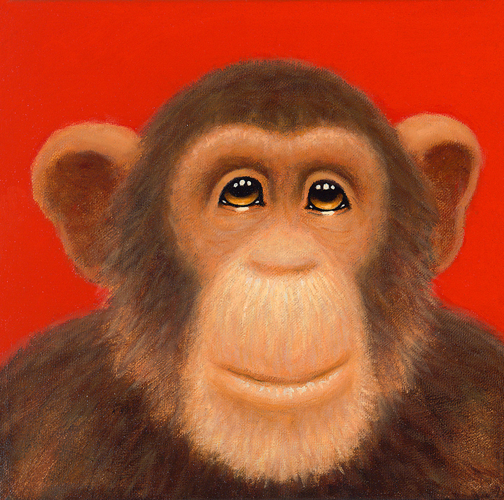 Tiny Chimp Red Art | Fine Art New Mexico