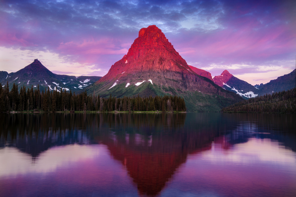 Two Medicine Lake fine art print media/Mt Sinopah bathed in warm alpenglow by Thomas Schoeller