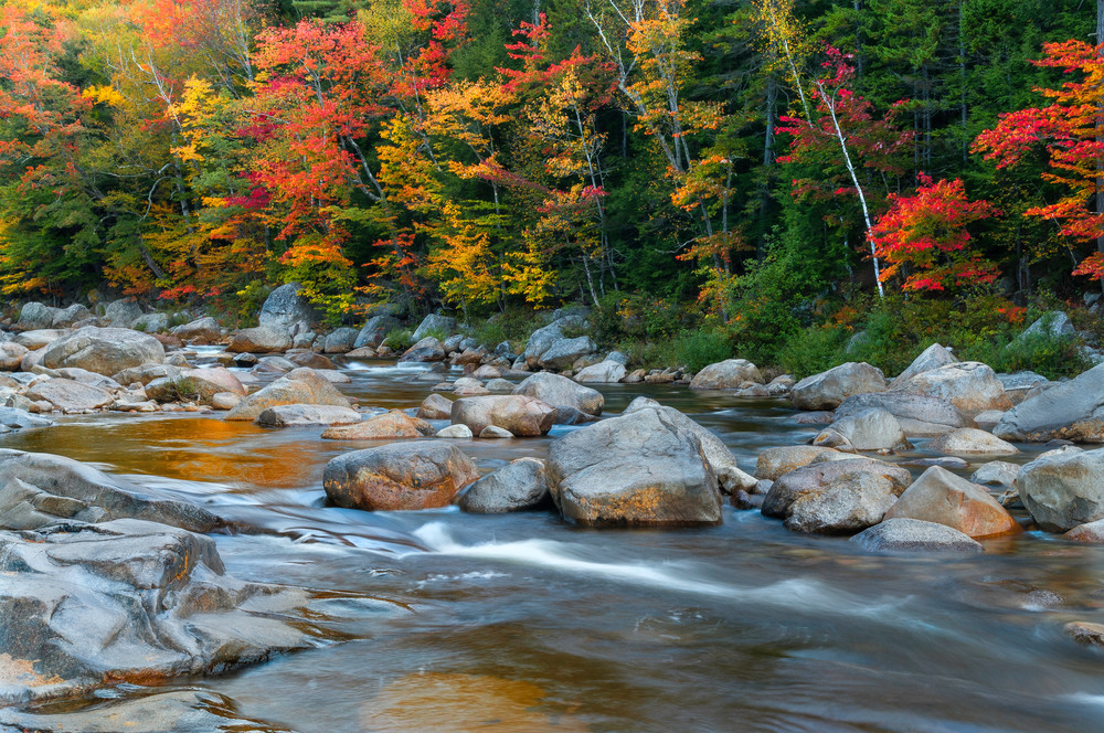 Beautiful New Hampshire Kancamagus Autumn foliage fine art prints/White Mountains scenic landscapes/Swift River rapids