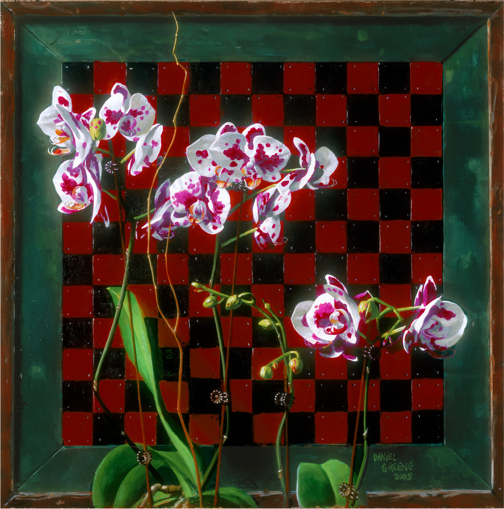 Checkerboard with Orchids