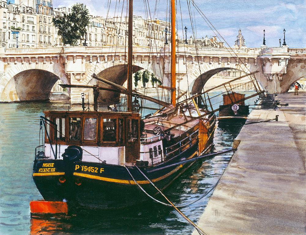 Barge Near Pont Neuf, James Asher