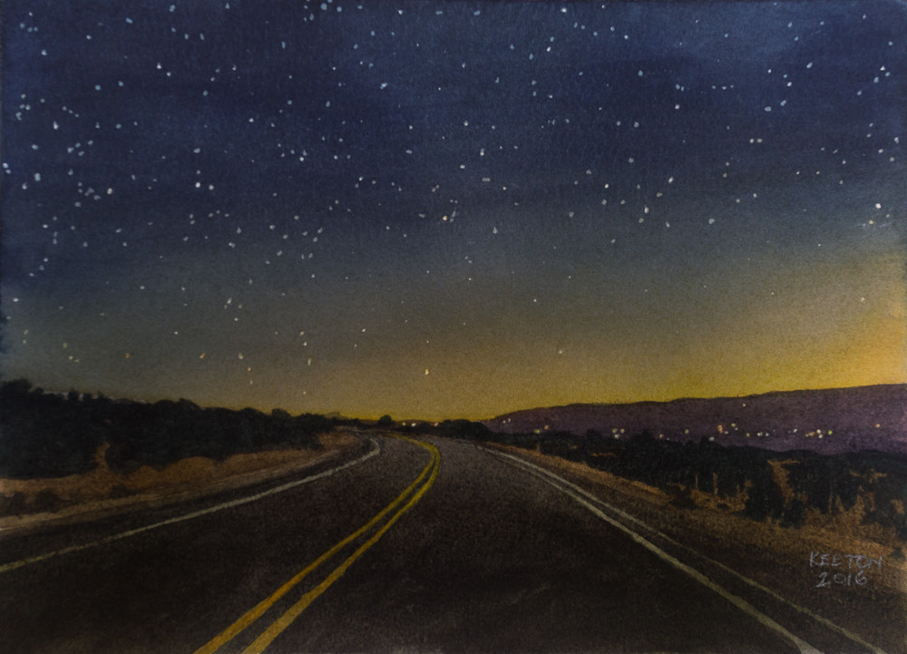 nocturne, watercolor, new mexico, landscape, southwest, turquoise trail, watercolor nocturne