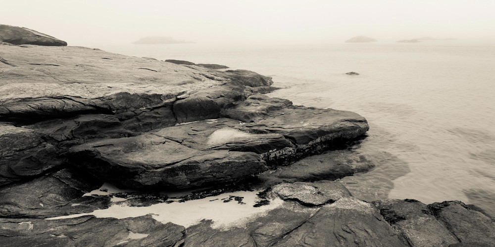 A panoramic view of the foggy CT coast at Waterford Beach.