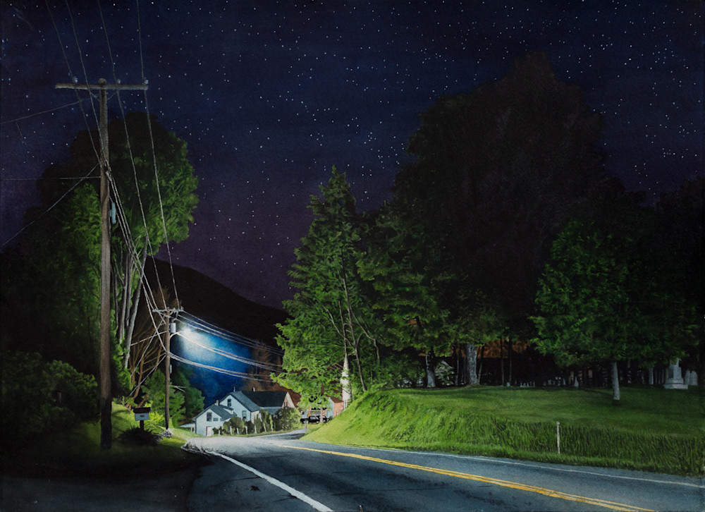 Highway 100, Vermont watercolor nocturne