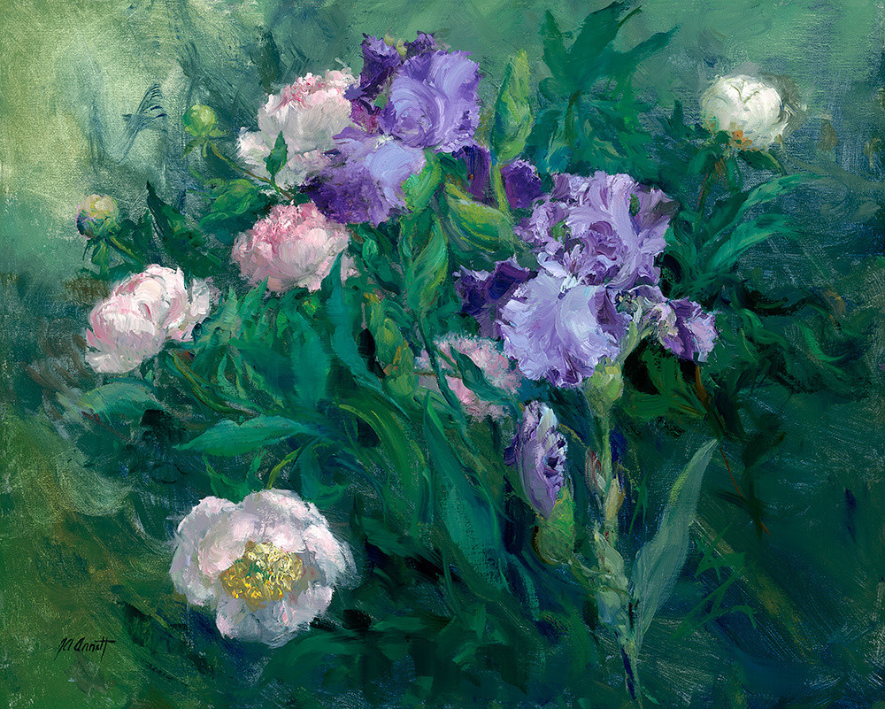 Violet Iris with Peonies, Joe Anna Arnett