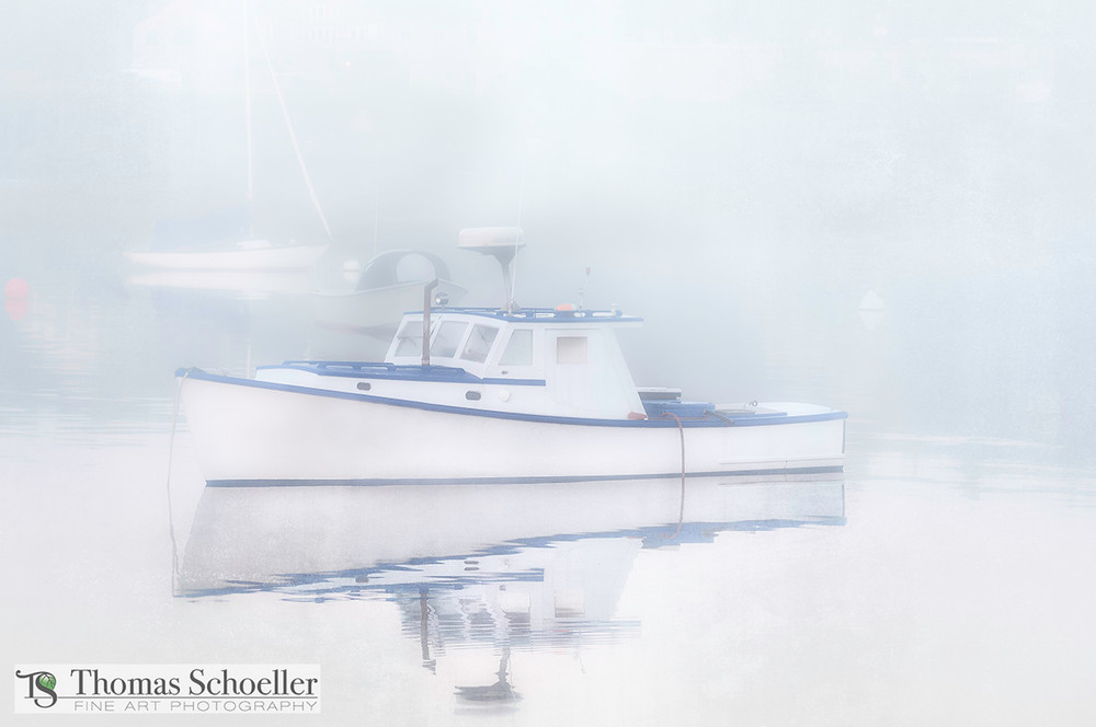 Minimalist Art/Nautical images from New Englands coast/lobster boat on a foggy Maine harbor