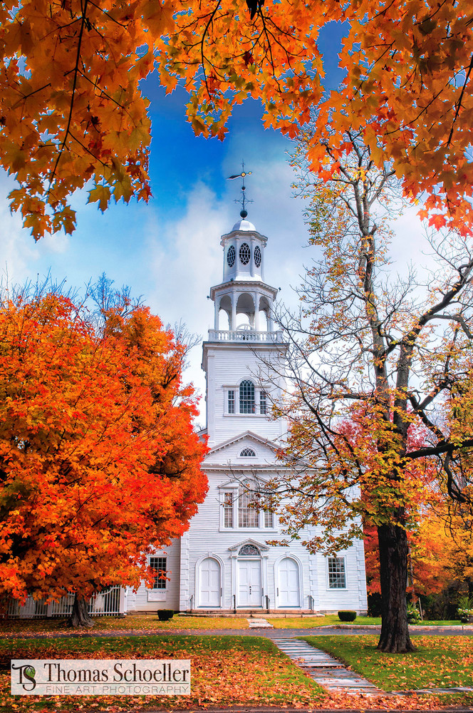 Vermont classic icons fine art photography/Bennington's Old First Church and village green
