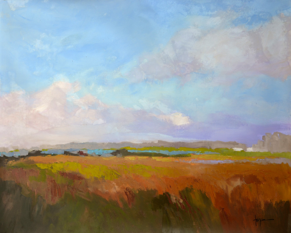 Coastal Marsh Landscape with Clouds, Coming Home Art Print on Canvas by Dorothy Fagan