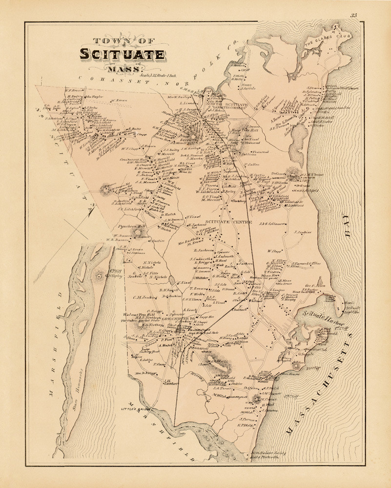 Scituate Town Map 1879 Art | Frame Center