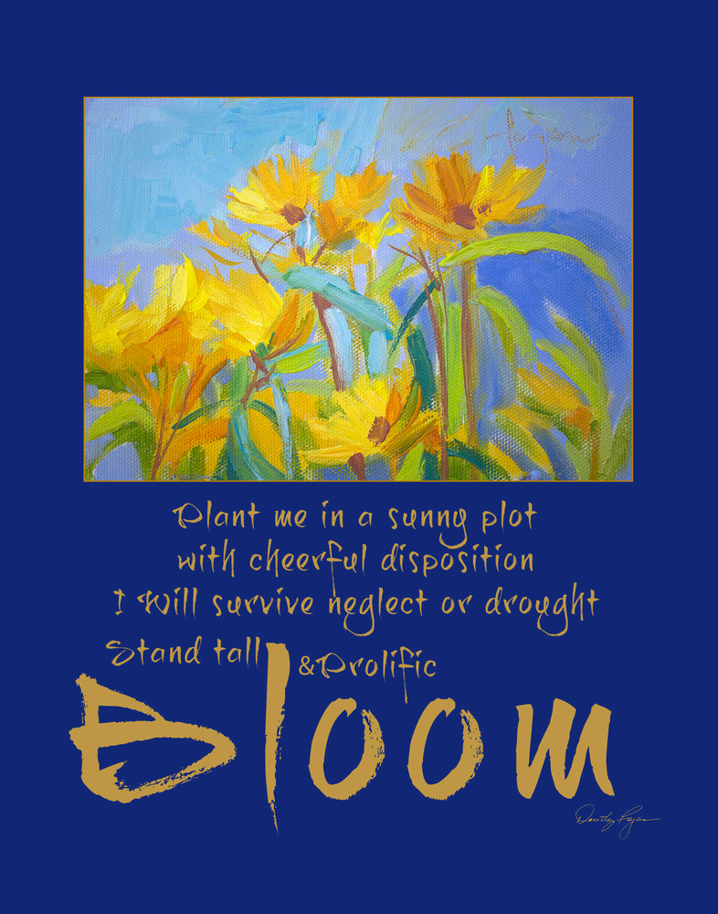 Yellow Wildflowers Inspirational Quote, Joy's Garden Art by Dorothy Fagan