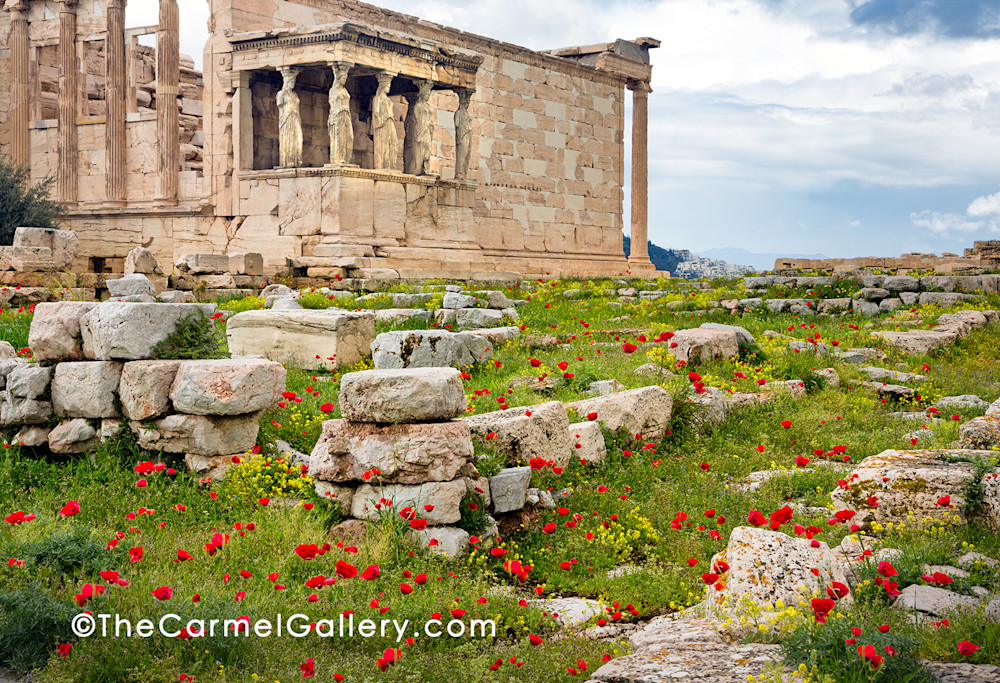 Caryatids And Poppies, Athens Art | The Carmel Gallery
