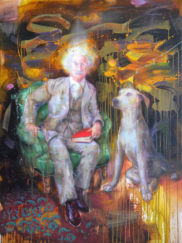 Portrait of Mark Twain with a dog