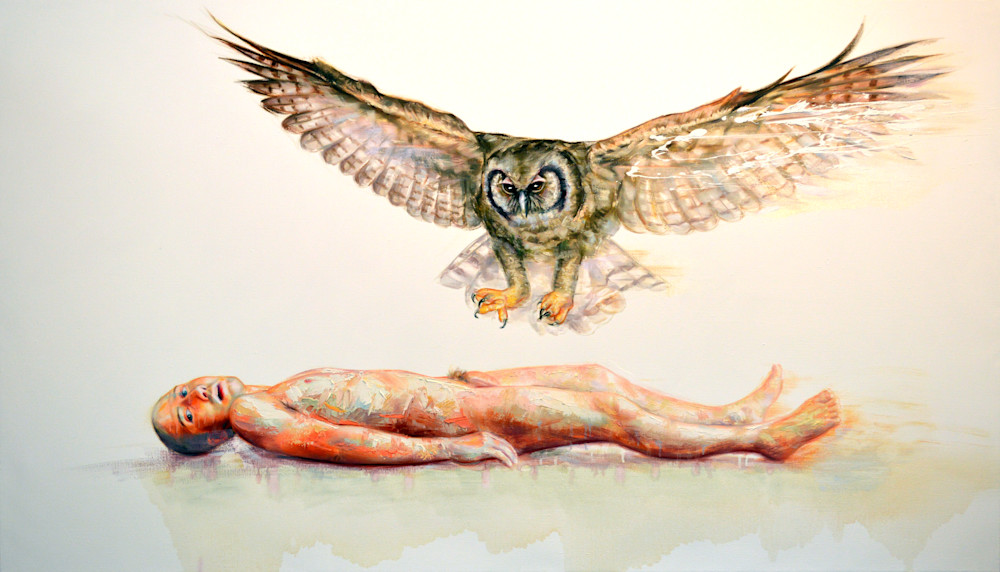 Nude self-portrait with owl painting