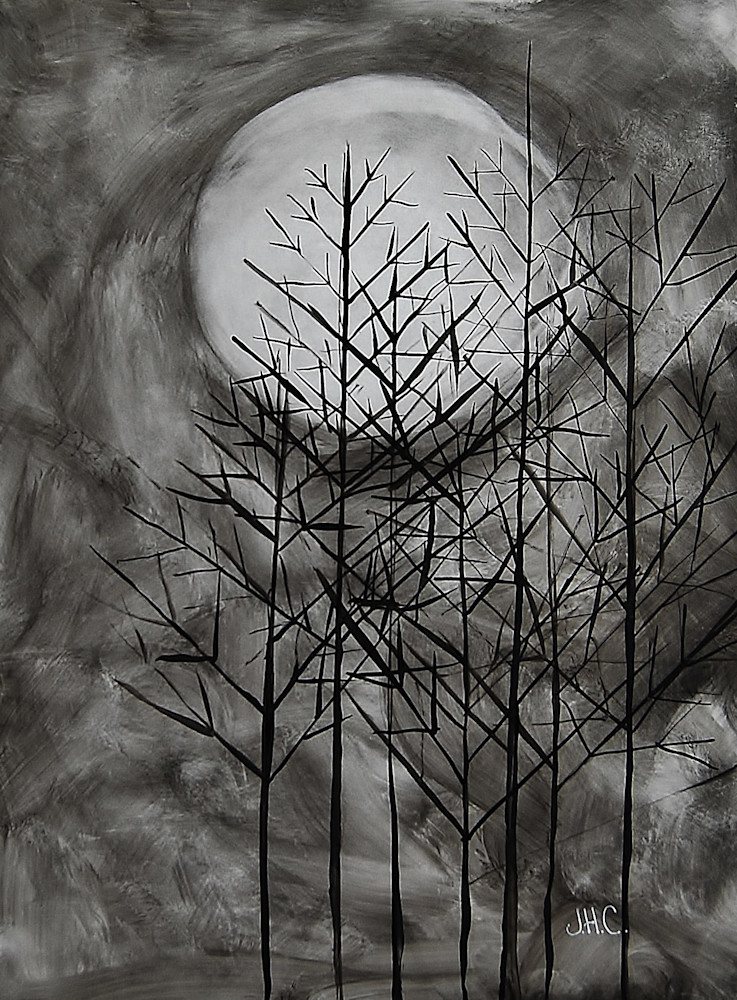 Moon Sticks Fine Art Ink Paintings Of Through The Winter Trees