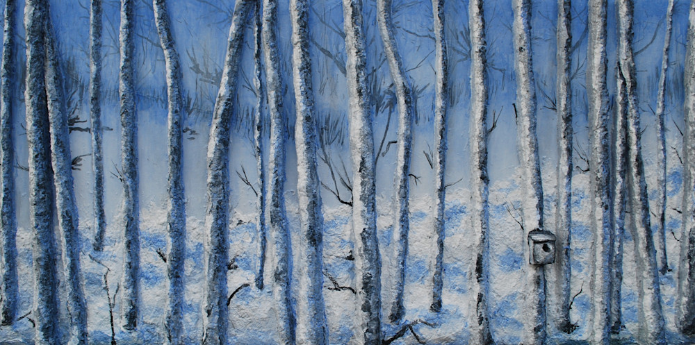 Print on canvas, metal, fine art paper, wall decals and more of Alison Galvan's fusion art landscape painting, Quiet Snowfall