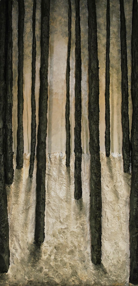 Print of Winter Wood a fusion art winter landscape painting of artist Alison Galvan's bas-relief sculpture and painting fine art.