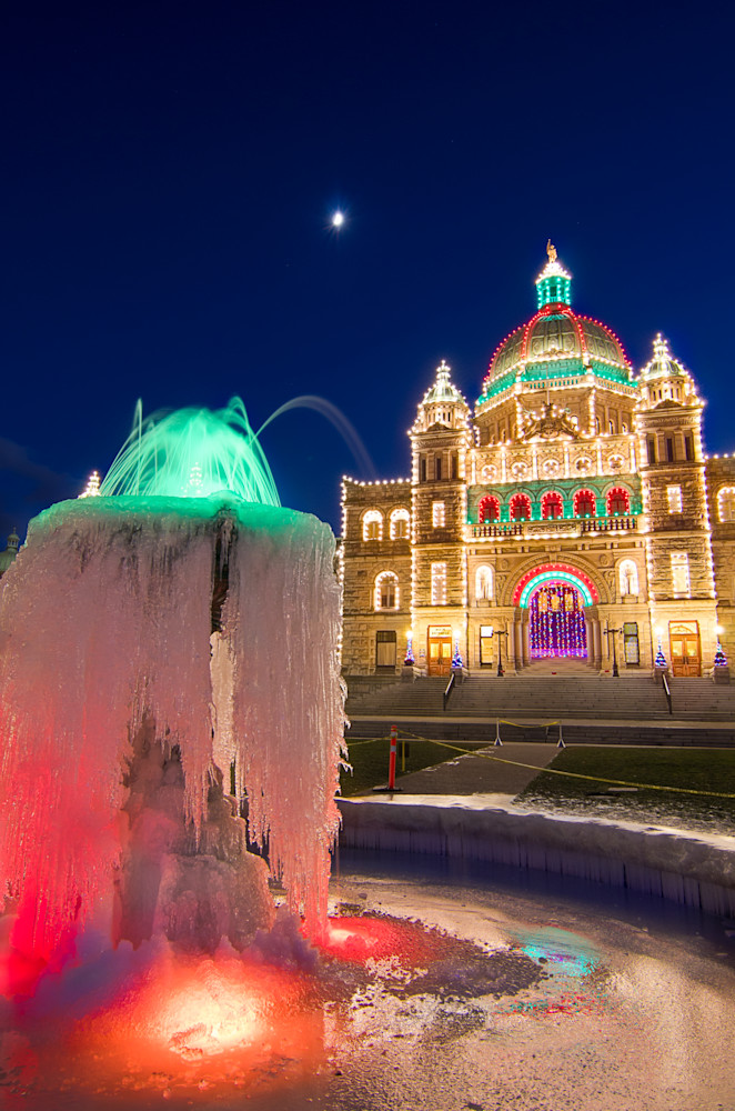 Frozen Fountain BC Legislature Photograph for Sale as Fine Art.