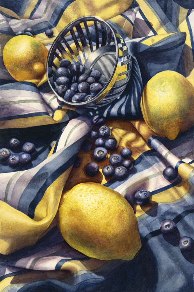 Blueberries and lemons spill out across rippling blue and yellow striped fabric in this limited edition reproduction from an original watercolor by Marsha Chandler.