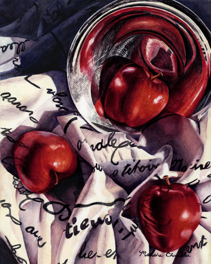 Bright red apples and a silver bowl reflect the printed material they sit on, creating a wonderful mosaic of texture and pattern in this Limited Edition reproduction from an original watercolor by Marsha Chandler.