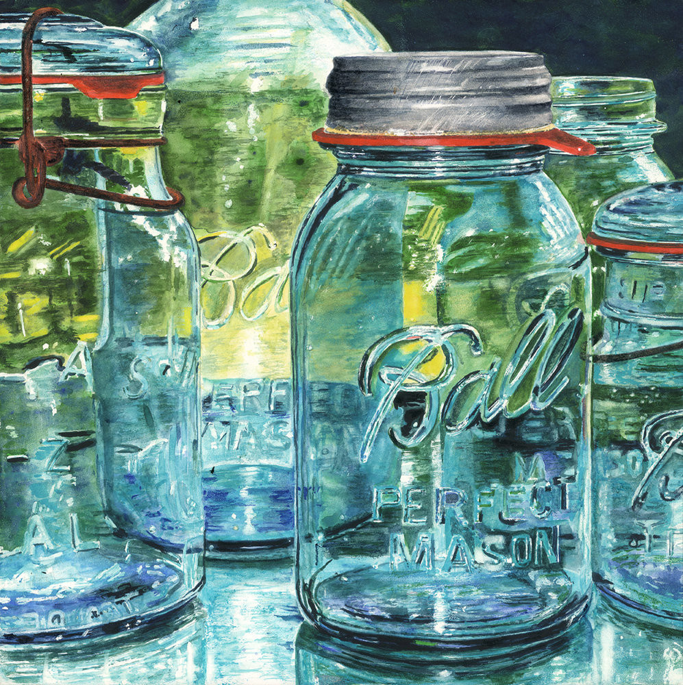 Wonderfully translucent Ball Mason jars lined up on a windowsill capture and reflect the sunlight in this Limited Edition reproduction from an original watercolor by Marsha Chandler.