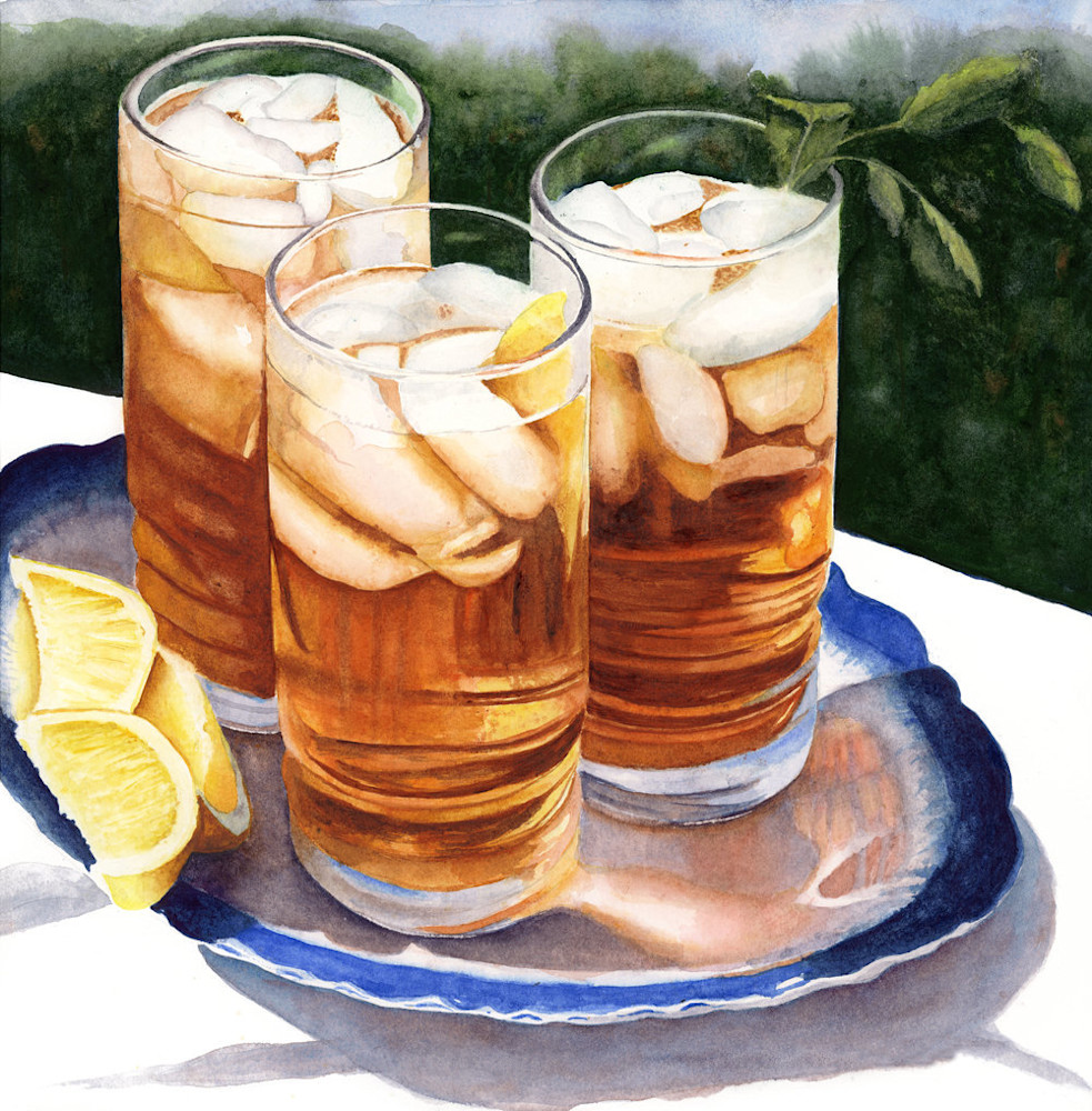 Three refreshing, ice cold glasses of Southern Sweet Tea, garnished with mint sprigs and lemons, wait to be served in this Limited Edition reproduction from an original watercolor by Marsha Chandler.