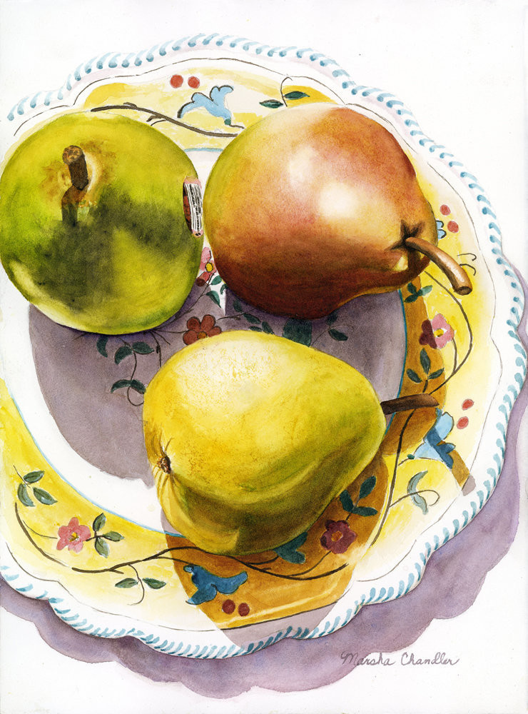 Luscious golden pears sit on a beautiful Italian plate in the bright sunlight in this Limited Edition reproduction from an original watercolor by Marsha Chandler.