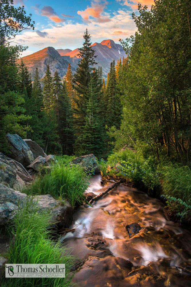 Colorado Rocky Mountain Fine Art nature landscape photography/Award winning creative landscape print titled Morning Glow from RMNP