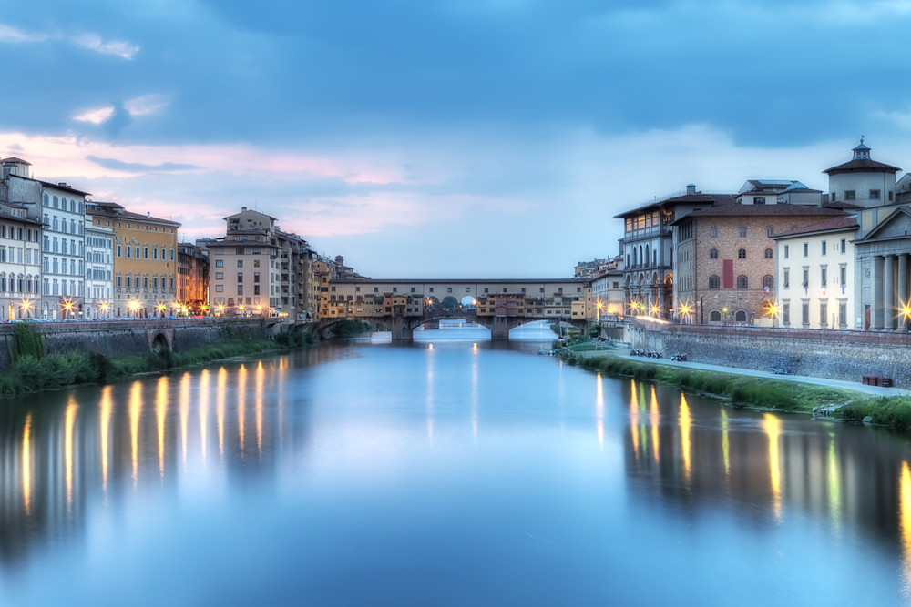 Photograph of the Arno River in Florence Italy