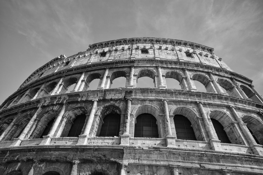 Black and white photograph of the Colosseum