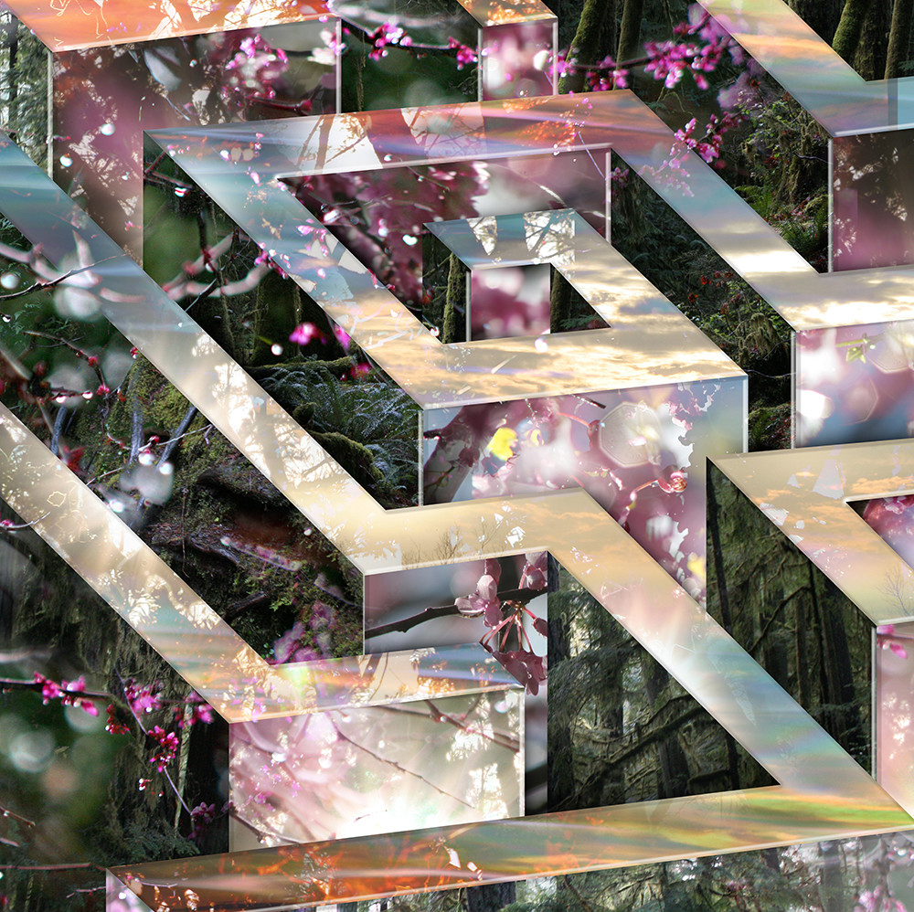 Fantastical digital collage image combines mazes and labyrinths with natural elements.