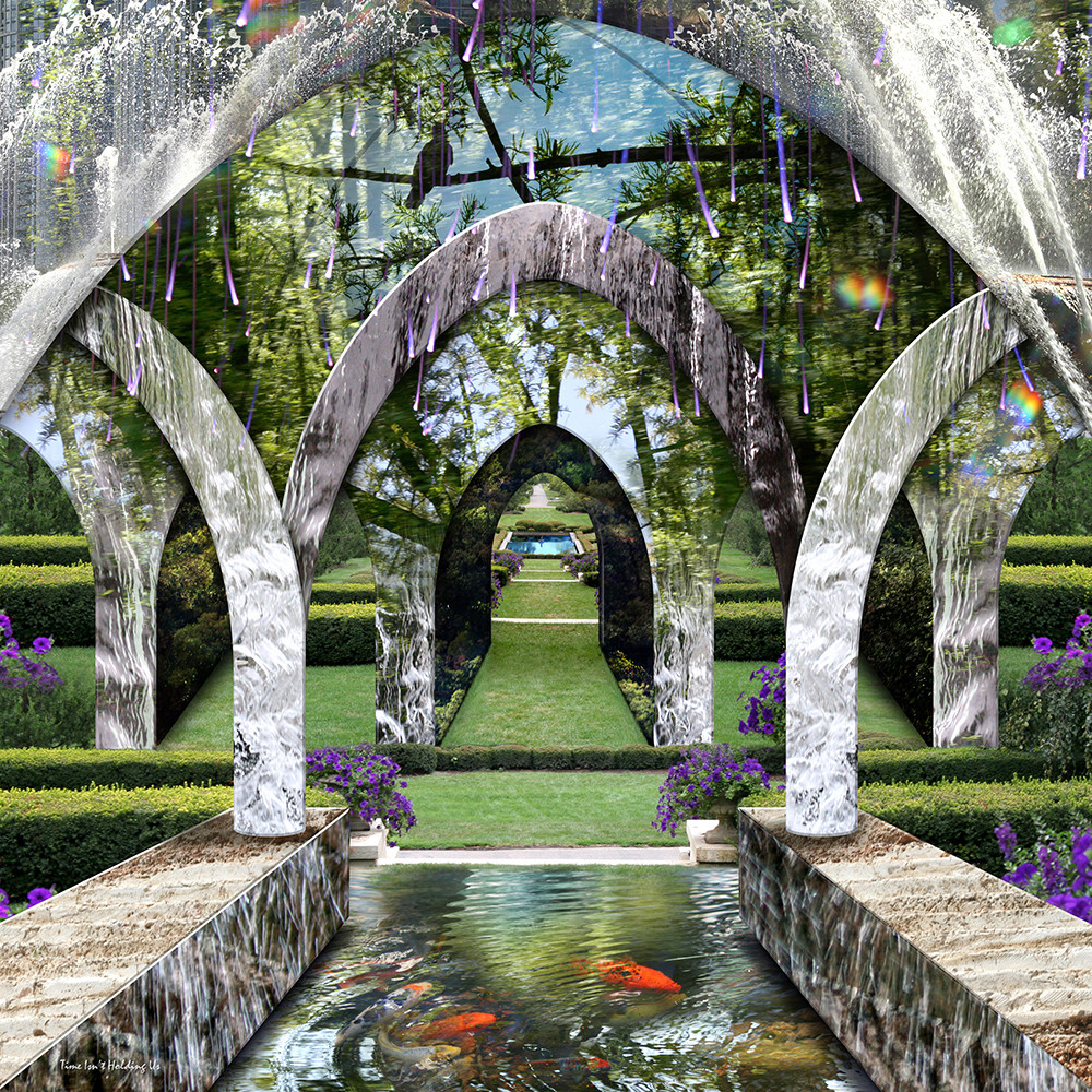 A surreal landscape echoes a formal English garden with fantasy element is this digital composition by artist Leslie Kell.