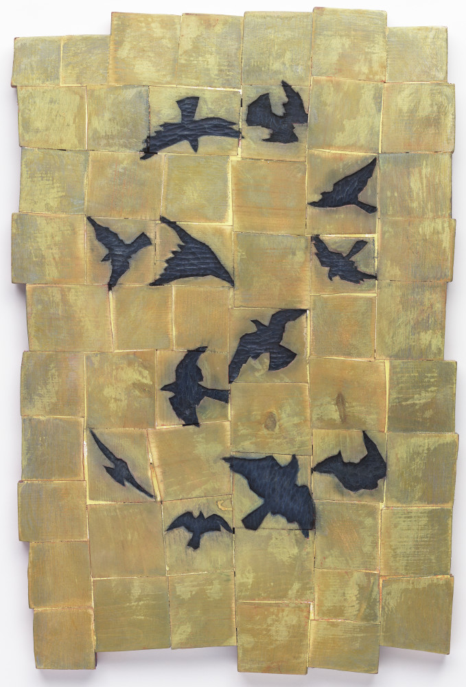 Twelve Birds Golden Sky Art For Sale