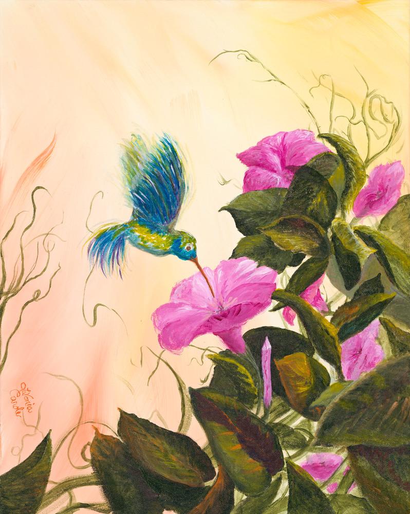 Delightful Flower -Hummingbird Art-Fine Art Print