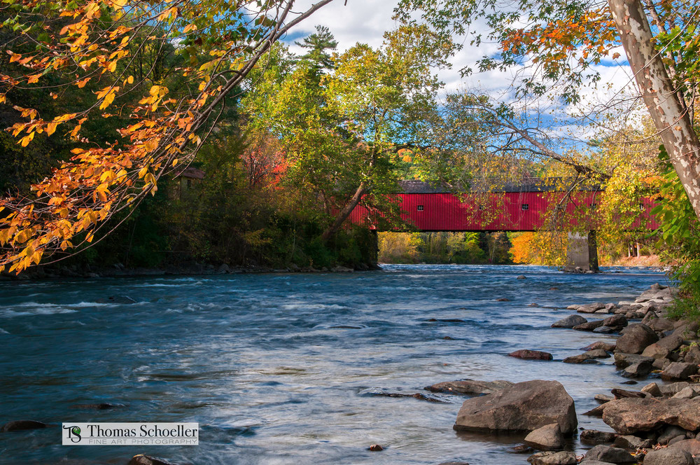 Classic iconic scene from Connecticut's West Cornwall Covered bridge