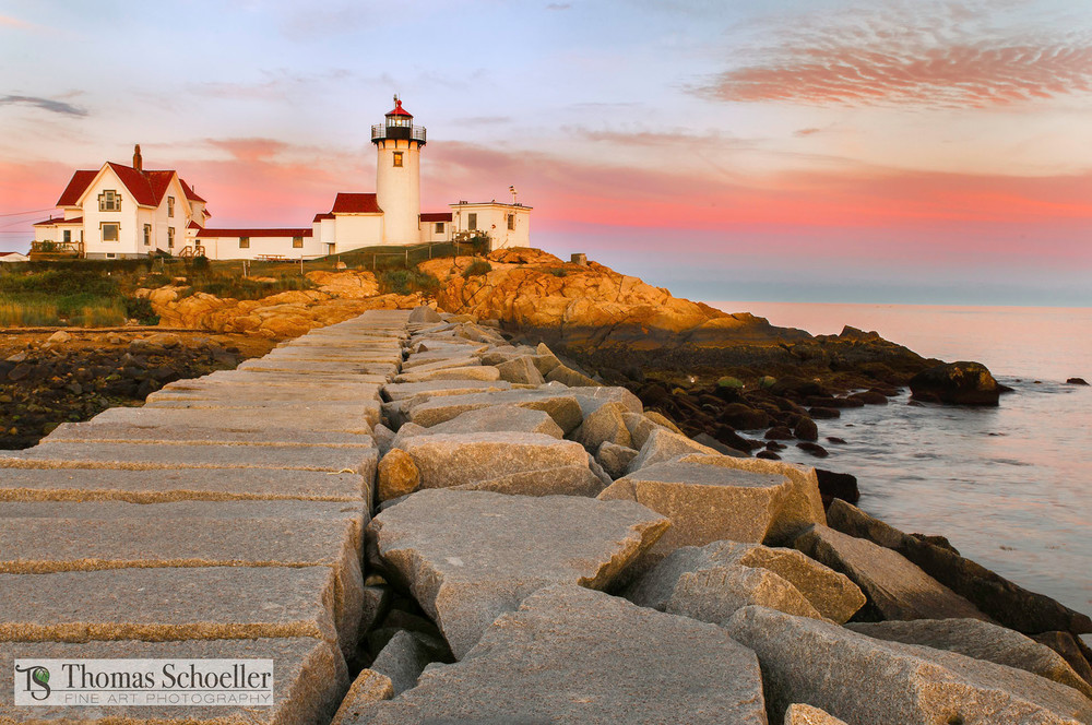 Eastern Point Lighthouse of Cape Ann/Illuminated by a gorgeous sunset/Fine art lighthouse prints for sale