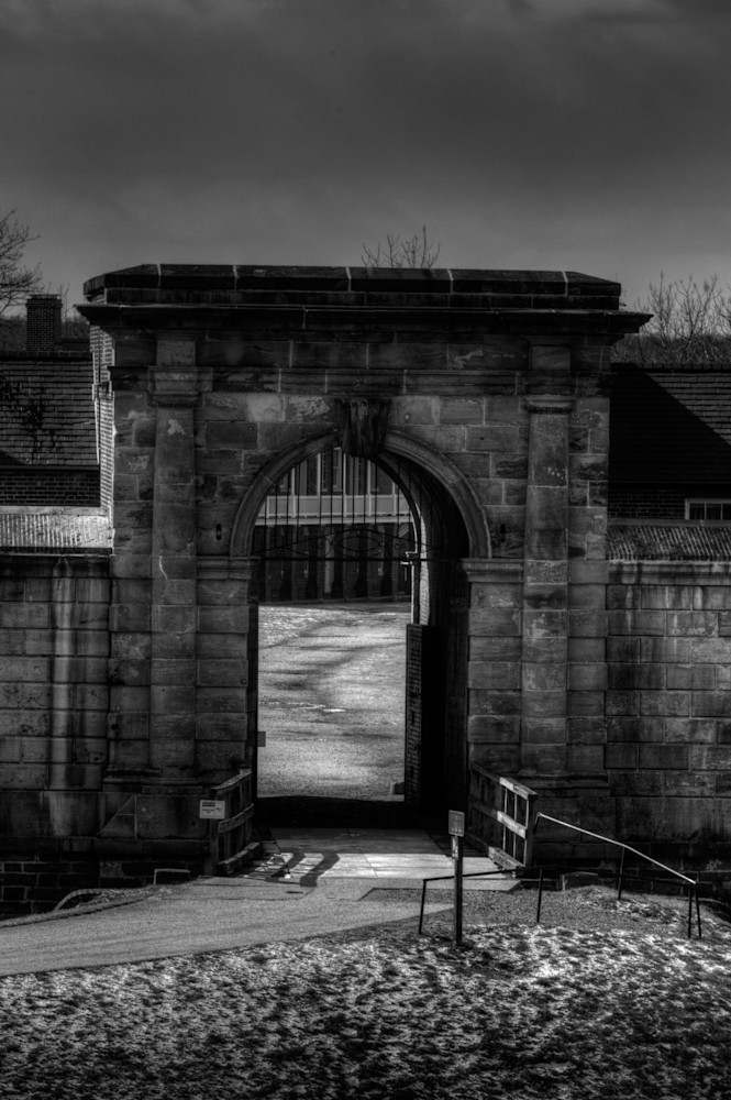 A Black and White Fine Art Photograph of the Fort Washington Entrance by Michael Pucciarelli