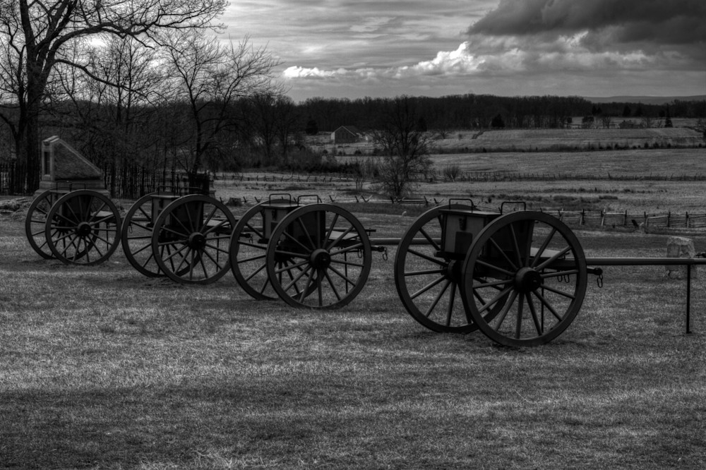 A Black and White Fine Art Photograph of Canons in Gettysburg by Michael Pucciarelli