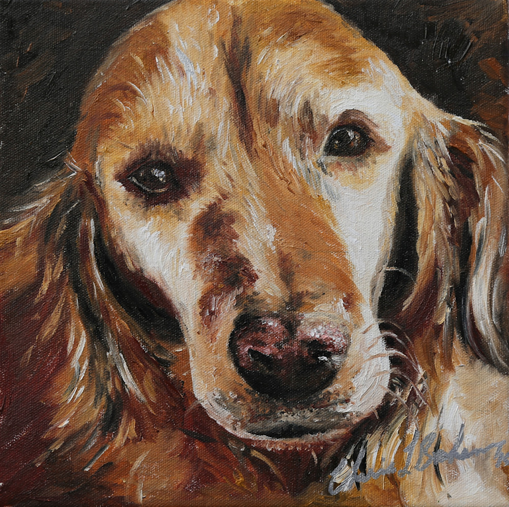 Lucy the Golden Retriever Painting - Artistic View