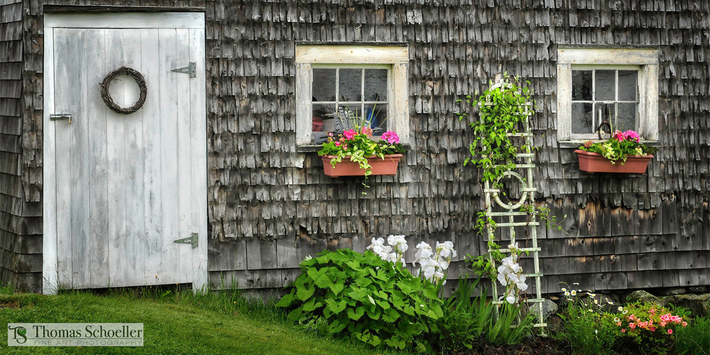 Coastal Maine seaside cottage fine art print/colorful flower garden photography by Thomas Schoeller