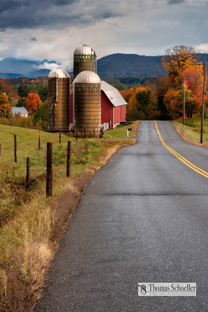 bucolic Vermont scenic landscape from the quaint village of Waitsfield
