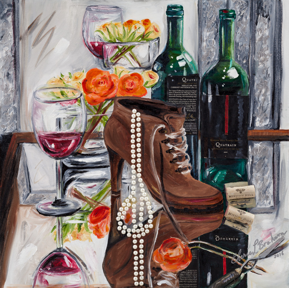 What a Girl Wants - Pearls, Wine, Boots Painting - Artistic View